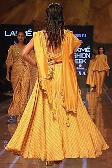 Mustard Yellow Embroidered Lehenga Set by Punit Balana