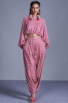 Pink Printed Top With Pants by Punit Balana