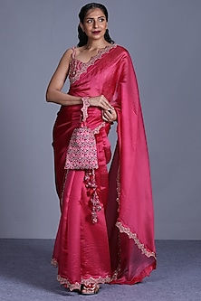 Pink Hand Embroidered Saree Set by Punit Balana