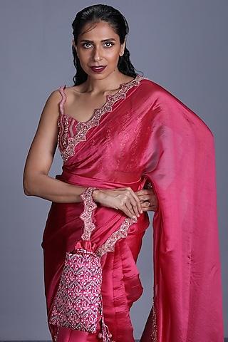 Pink Hand Embroidered Saree Set by Punit Balana