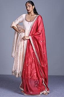 Cream Chanderi Silk Anarkali Set by Punit Balana-PUNIT BALANA