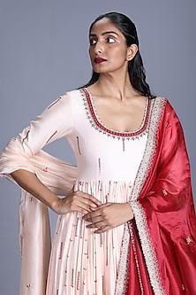 Cream Chanderi Silk Anarkali Set by Punit Balana