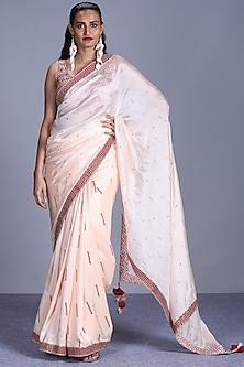 Cream Saree Set by Punit Balana