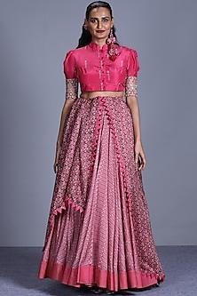Pink Skirt Set by Punit Balana-PUNIT BALANA