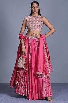 Pink Printed & Embroidered Skirt Set by Punit Balana