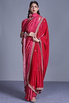 Pink Printed Saree Set With Dupatta by Punit Balana