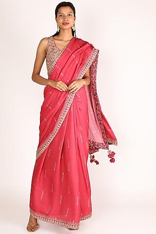 Fuchsia Saree With Embellished Blouse by Punit Balana