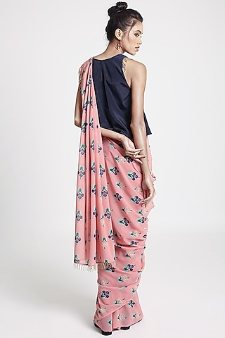 Pink & Navy Blue Printed Saree Set by PS Pret by Payal Singhal