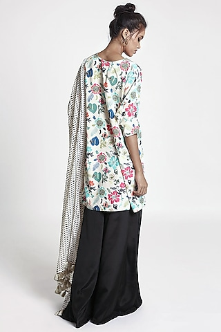 Cream & Black Printed Kurta Set by PS Pret by Payal Singhal