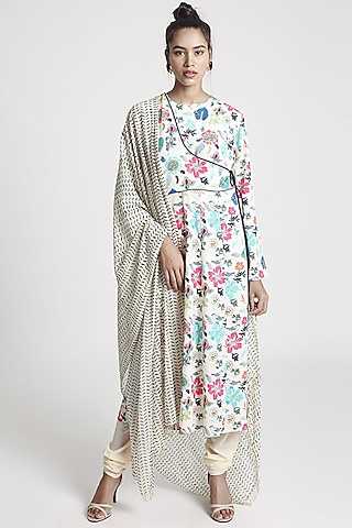 Cream Floral Printed Kurta Set by PS Pret by Payal Singhal
