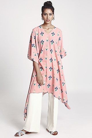 Pink Printed Crepe Kaftan by PS Pret by Payal Singhal