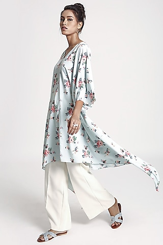 Powder Blue Floral Printed Kaftan by PS Pret by Payal Singhal