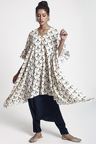 Cream Arrow Printed Pant Set by PS Pret by Payal Singhal
