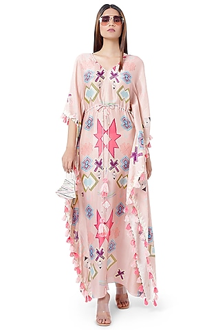 Pink Ikat Printed Kaftan by PS Pret by Payal Singhal