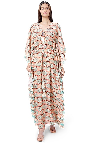 Coral Evil Eye Printed Kaftan by PS Pret by Payal Singhal