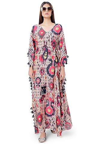 Red & Navy Ikat Printed Kaftan by PS Pret by Payal Singhal