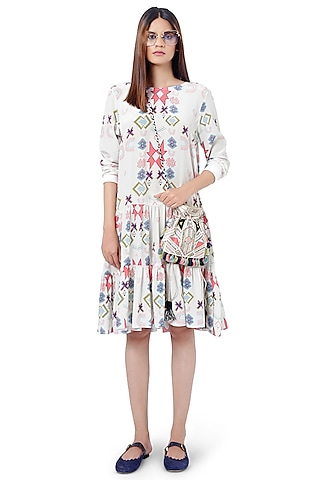 White Printed Layered Tunic by PS Pret by Payal Singhal