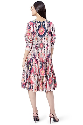 Red Printed Layered Tunic by PS Pret by Payal Singhal