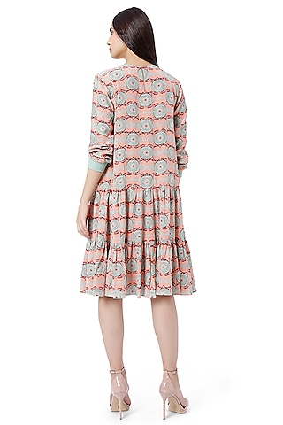 Coral & Mint Printed Layered Tunic by PS Pret by Payal Singhal