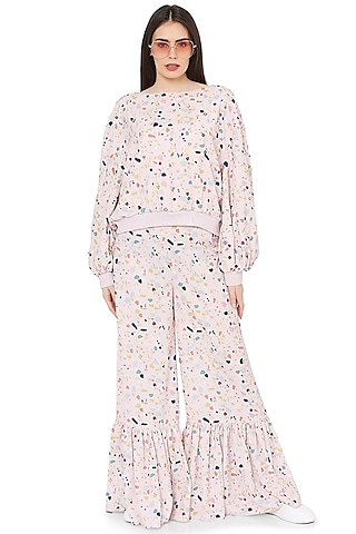 Pink Printed & Embroidered Palazzo Pant Set by PS Pret by Payal Singhal