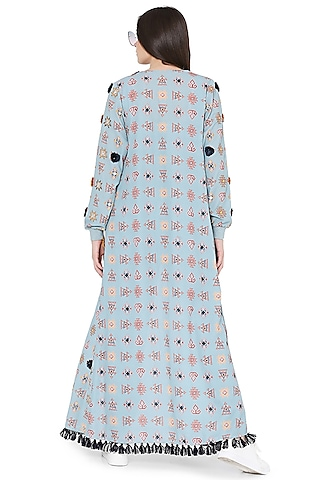 Blue Printed & Embroidered Jacket Set by PS Pret by Payal Singhal