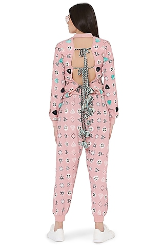 Pink Printed & Embroidered Jacket Set by PS Pret by Payal Singhal