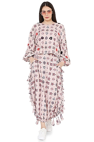 Blush Pink Printed & Embroidered Skirt Set by PS Pret by Payal Singhal