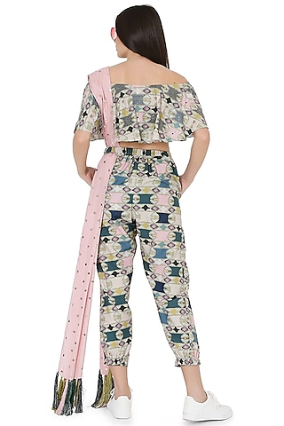Green & Rose Pink Embroidered Jogger Pant Set by PS Pret by Payal Singhal