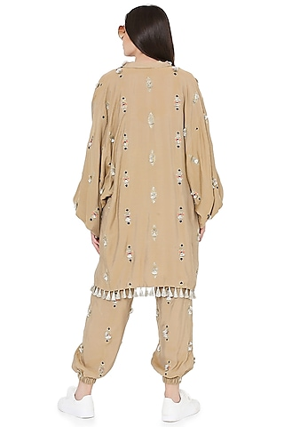 Gold & Green Embroidered Oversized Jacket Set by PS Pret by Payal Singhal
