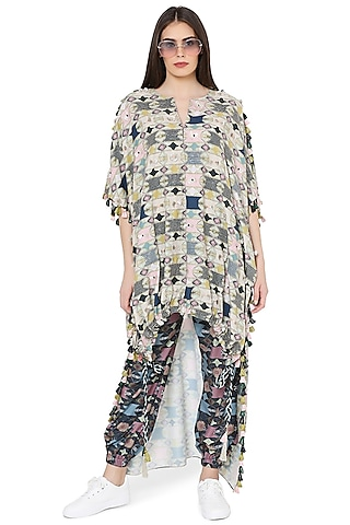 Green & Navy Blue Printed Jogger Pant Set by PS Pret by Payal Singhal