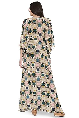 Green Printed Oversized Kaftan by PS Pret by Payal Singhal