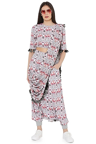 Grey Printed Low-Crotch Pant Set With Draped Dupatta by PS Pret by Payal Singhal