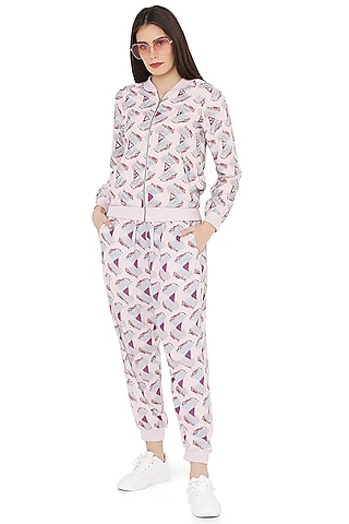 Pink Printed & Embroidered Jogger Pant Set by PS Pret by Payal Singhal
