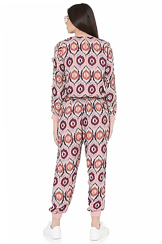 Red Printed & Embroidered Jogger Pant Set by PS Pret by Payal Singhal