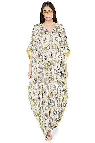 Yellow Printed & Embroidered Kaftan by PS Pret by Payal Singhal
