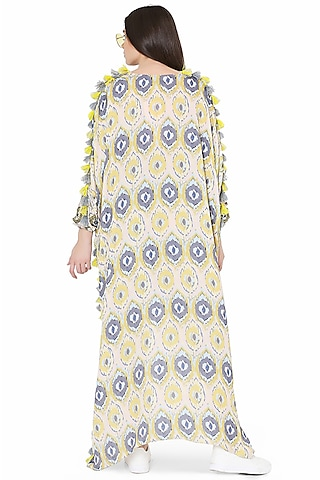 Yellow Printed & Embroidered Jogger Pant Set by PS Pret by Payal Singhal