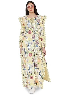 Yellow Printed & Embroidered High-Slit Kaftan by PS Pret by Payal Singhal