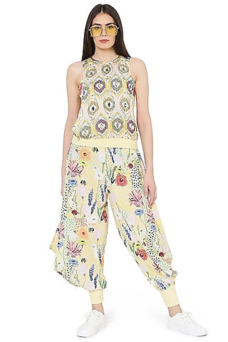 Yellow Printed & Embroidered Cowl Pant Set by PS Pret by Payal Singhal