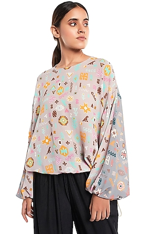 Lavender & Grey Printed Top by PS Pret by Payal Singhal