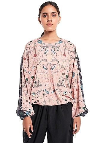 Peach & Black Forest Printed Top by PS Pret by Payal Singhal