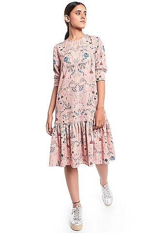 Peach Forest Printed Frilled Hem Tunic by PS Pret by Payal Singhal