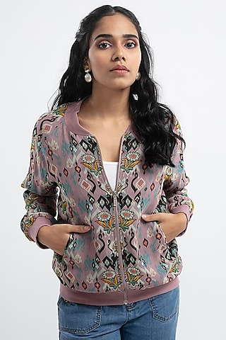 Pink Printed Bomber Jacket by PS Pret by Payal Singhal