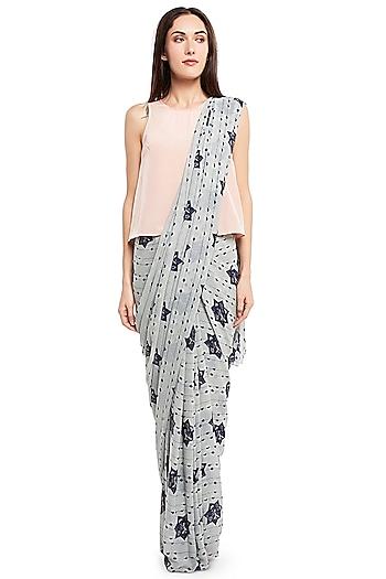 Grey & Pink Printed Saree Set by PS Pret by Payal Singhal