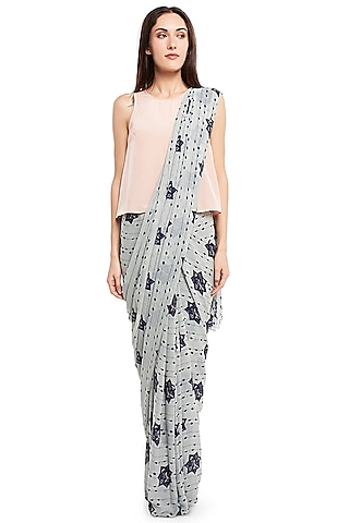 Grey & Pink Printed Saree Set by PS Pret by Payal Singhal