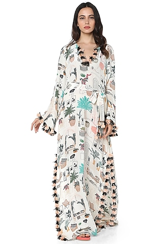 White Printed Kaftan by PS Pret by Payal Singhal