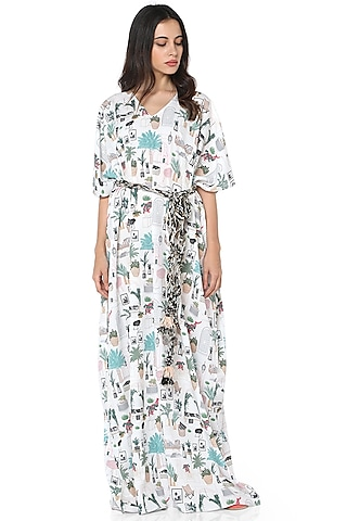 White Printed Art Crepe Kaftan by PS Pret by Payal Singhal
