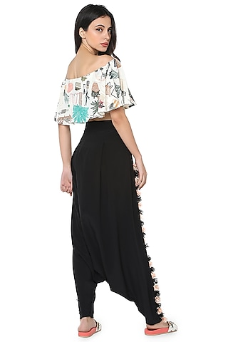 White & Black Printed Pant Set by PS Pret by Payal Singhal