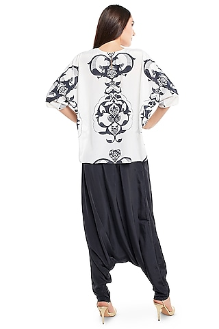 White & Black Ottoman Printed Pant Set by PS Pret by Payal Singhal