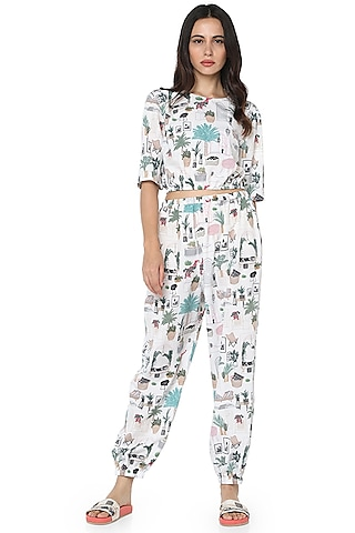 White Printed Jogger Pant Set by PS Pret by Payal Singhal