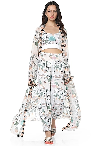 White Printed Pant Set by PS Pret by Payal Singhal